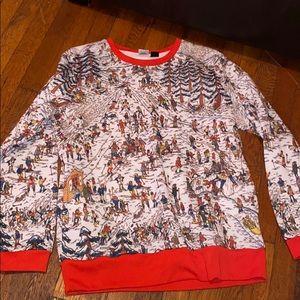 Where's Waldo sweatshirt ski winter Snow red white